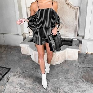 Other - Black and white stripe cold shoulder romper
